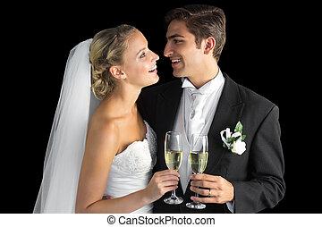 coppia, sposato, allegro, presa a terra,  champagne, occhiali