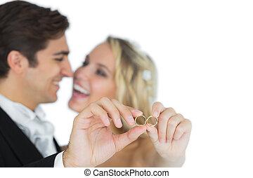 coppia, sposato, anelli, loro, attraente, matrimonio, esposizione, Felice