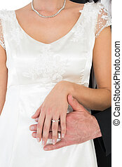 coppia, sposato, anelli, matrimonio, recentemente, esposizione