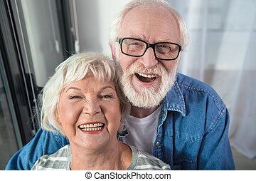 coppia, sposato, insieme, tempo, anziano, godere