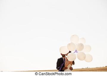 coppia, sposato, mano,  ballons, presa a terra, Felice