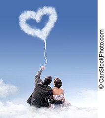 coppia, sposato, nuvola, giusto, seduta