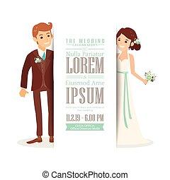 coppia, sposo, invito, sposa, fondo, matrimonio, bianco, scheda