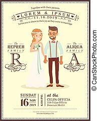 coppia, sposo, invito, sposa, sagoma, matrimonio, cartone animato, scheda