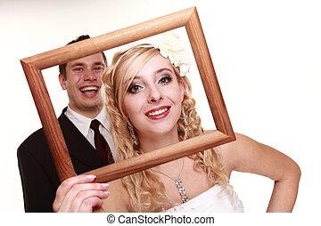 coppia, sposo, sposa, matrimonio, cornice, felice