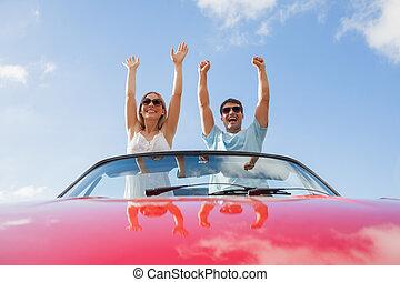 coppia, standing, matto, cabriolet, rosso