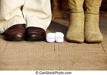 coppia, stivali, incinta