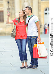 coppia, strada, shopping