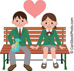 coppia, studente, felice
