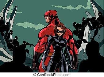 coppia, superhero, contro, minions