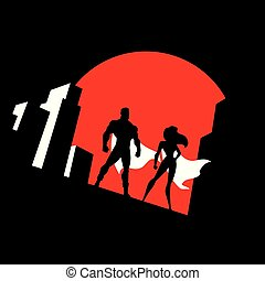 coppia, superhero, simbolo, fondo