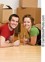 coppia, tostare, in, loro, casa nuova