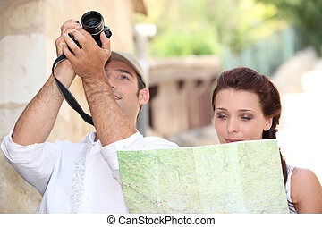 coppia, turisti