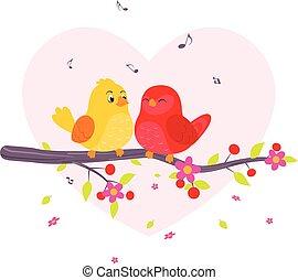 coppia, uccelli, ramo, seduta