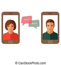 coppia, uomo, woman., chiacchierata, linea