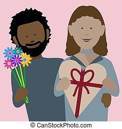 coppia, valentines, africano