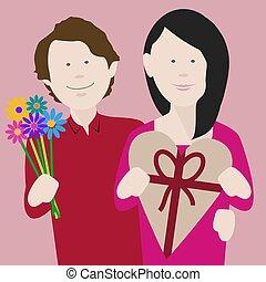 coppia, valentines, giovane