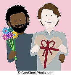 coppia, valentines, multiethnic, gaio