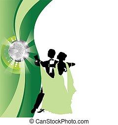 coppia, valzer, sfondo verde, ballo