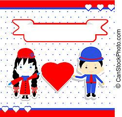 coppia, vettore, giorno, illustrazione, valentines