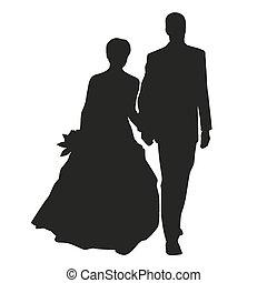 coppia, vettore, silhouette, matrimonio