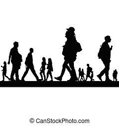 coppia, vettore, silhouette, persone