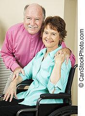 coppia, vivente, con, incapacità