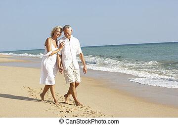 coppie maggiori, godere, festa spiaggia