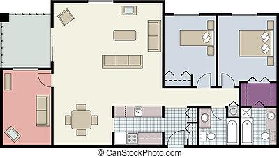 copropriété, plan, two-bedroom, plancher