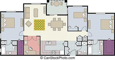 copropriété, plancher, three-bedroom, plan