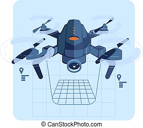 Copter flies and paves the route. Vector illustration