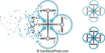 copter, halftone, het desintegreren, quad, punt, pictogram