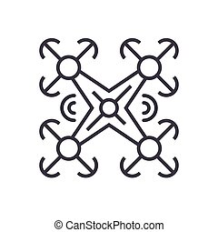 copter linear icon, sign, symbol, vector on isolated background