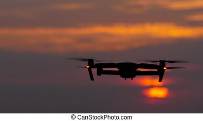Copter removes a beautiful landscape at sunset