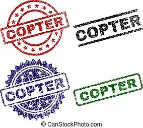 copter, selos, textured, danificado, selo
