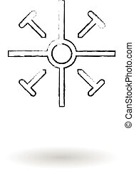 Coptic cross pencil sketch vector illustration, religious sign drawing
