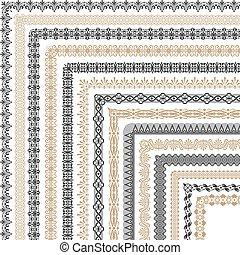 Coptic ornament frame border vector corners