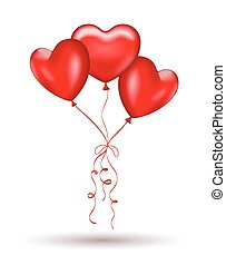 Copula of red gel balloons in the shape of a heart.