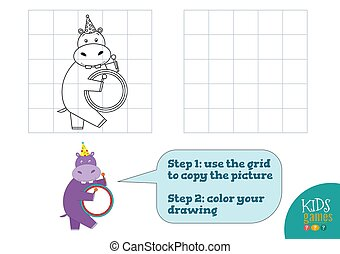 Copy and color picture vector illustration, exercise. Funny cartoon hippopotamus