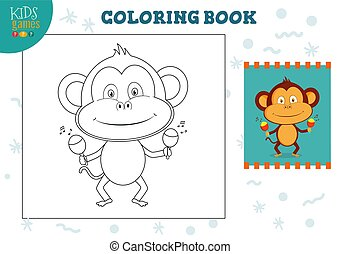 Copy and color picture vector illustration, exercise. Funny cartoon monkey