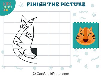 Copy and complete picture vector blank game, illustration. ...