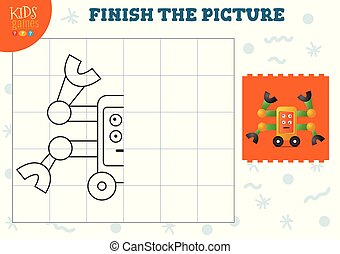 Copy and complete the picture vector blank game, illustration. Preschool kids activity, educational exercise with cartoon vintage robot