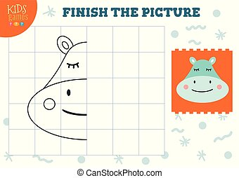 Copy and complete the picture vector blank game, illustration. Preschool kids activity or exercise for learning and education with cartoon hippo