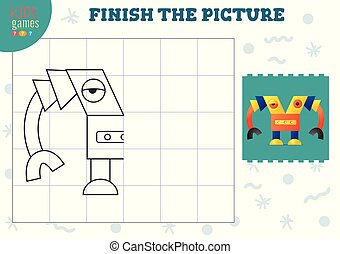 Copy and complete the picture vector blank game, illustration. Preschool kids activity or exercise for learning and education with cartoon cute robot