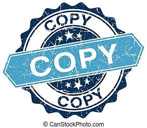copy blue round grunge stamp on white