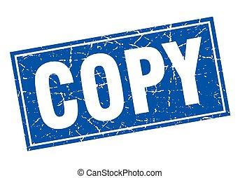 copy blue square grunge stamp on white