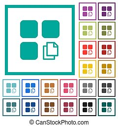 Copy component flat color icons with quadrant frames on white background
