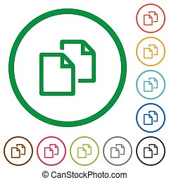 Copy document flat color icons in round outlines on white background