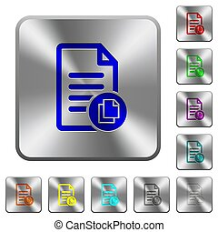 Copy document rounded square steel buttons
