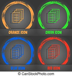 Copy file, Duplicate document icon. Fashionable modern style. In the orange, green, blue, red design. Vector